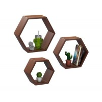 Set of 3 Hexagon Shape Shelf / Honeycomb (WS117)