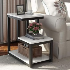 3-Tier Chair Side Table Night Stand With Storage Shelf For Living Room(White+Brown) (WS133)